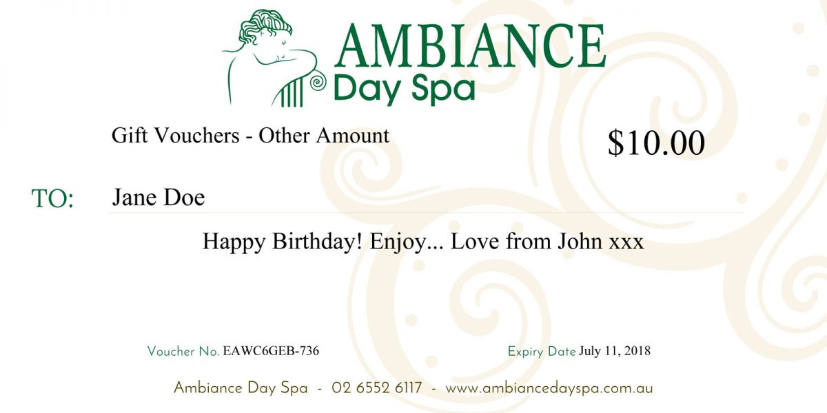 Ambiance Day Spa Gift Voucher - Preview